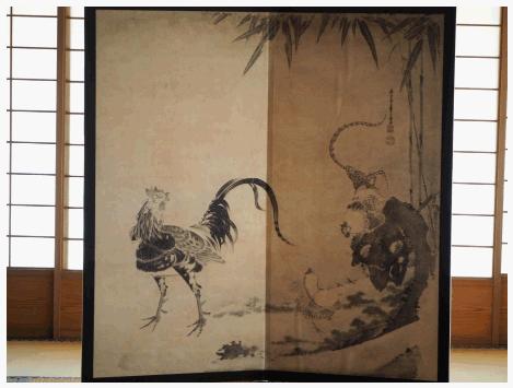 海宝寺 伊藤若冲群鶏図レプリカ